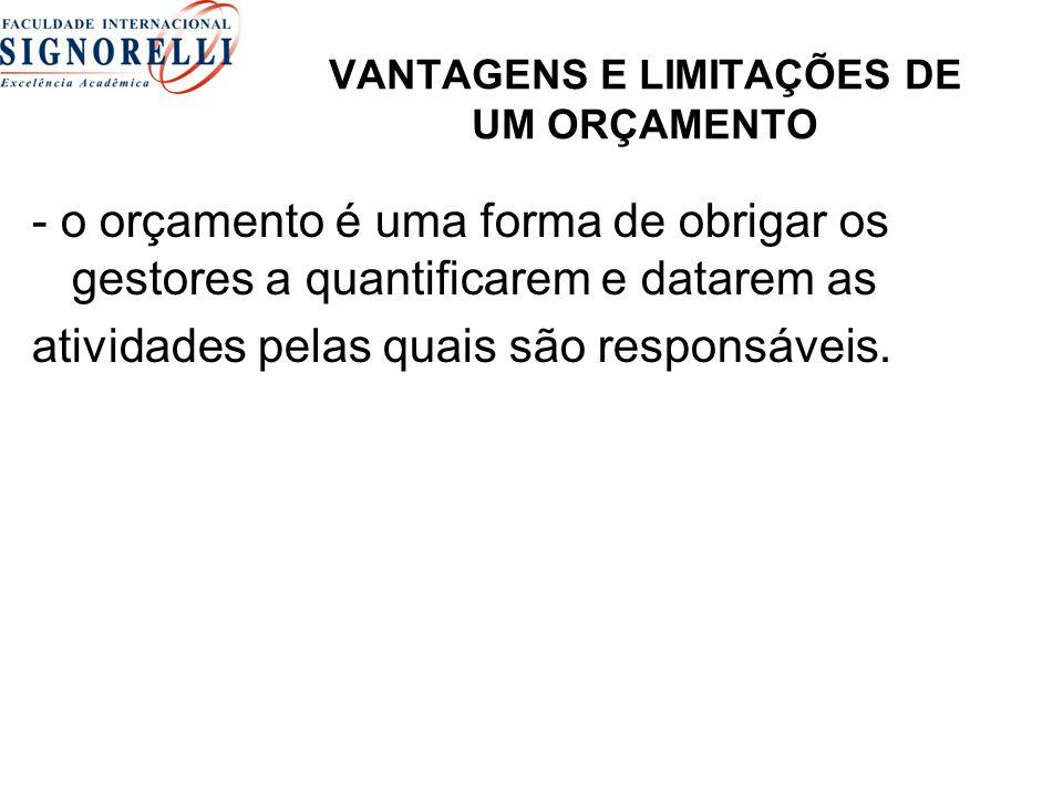 VANTAGENS E LIMITAÇÕES DE UM ORÇAMENTO