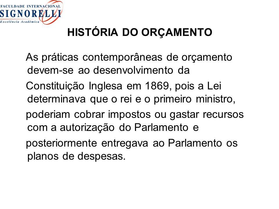 HISTÓRIA DO ORÇAMENTO As práticas contemporâneas de orçamento devem-se ao desenvolvimento da.