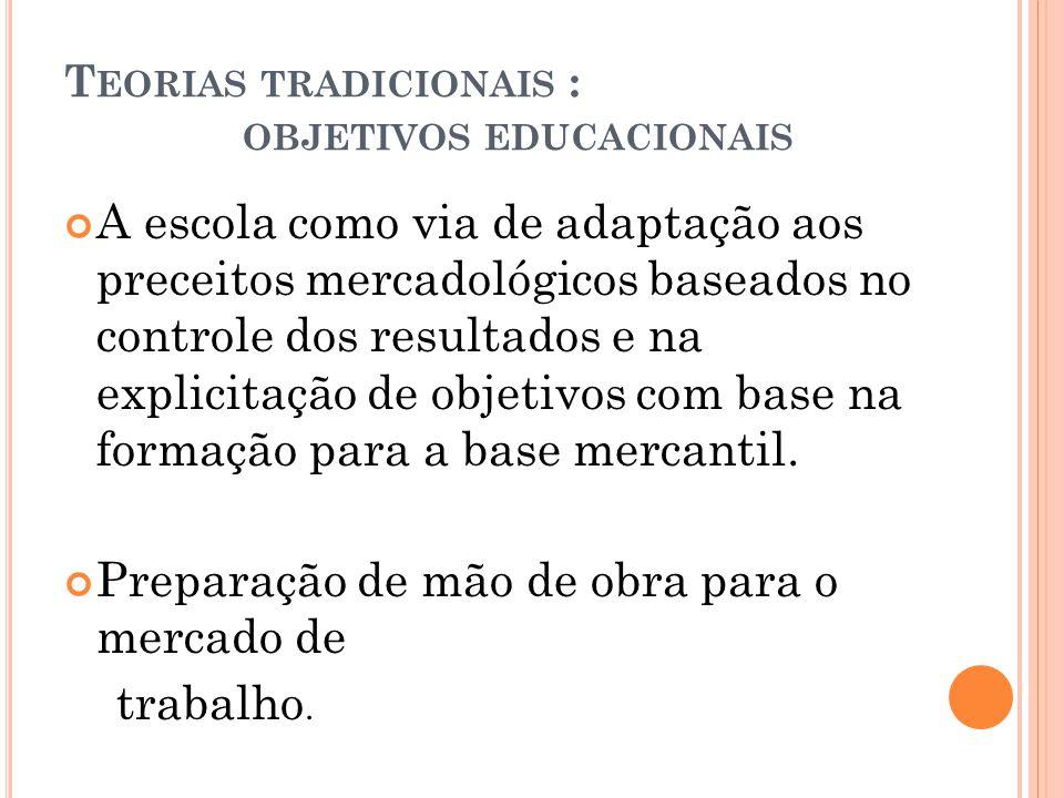 Teorias tradicionais : objetivos educacionais