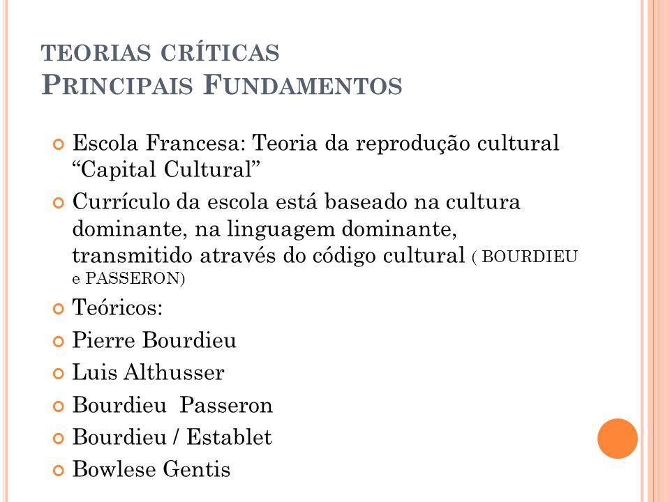 teorias críticas Principais Fundamentos