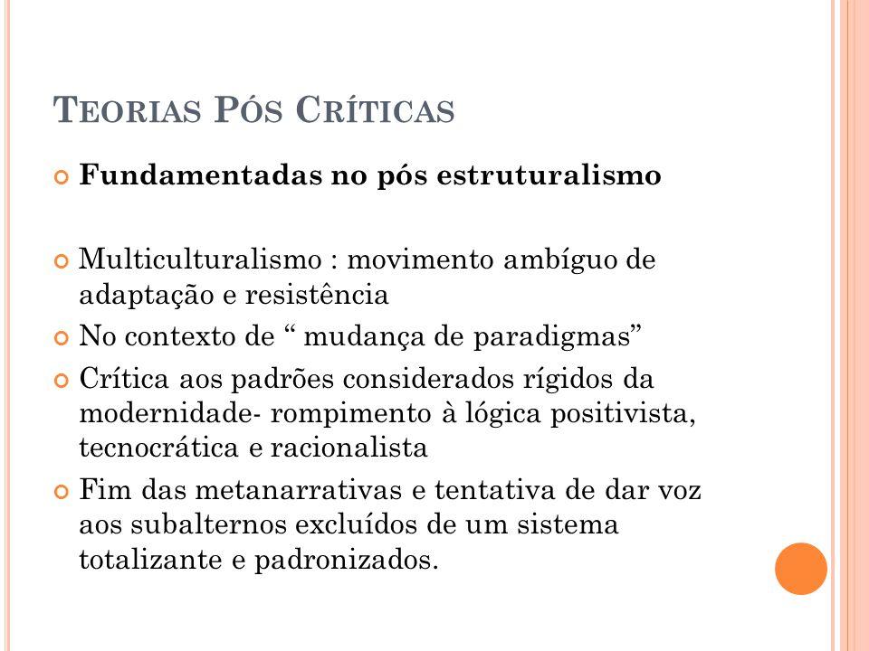 Teorias Pós Críticas Fundamentadas no pós estruturalismo