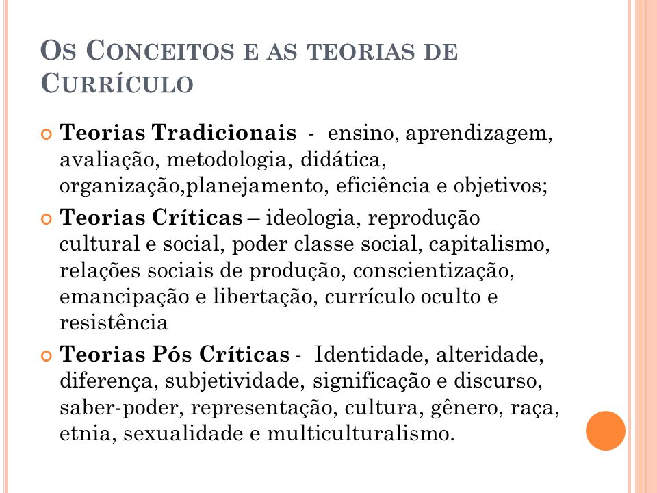Os Conceitos e as teorias de Currículo