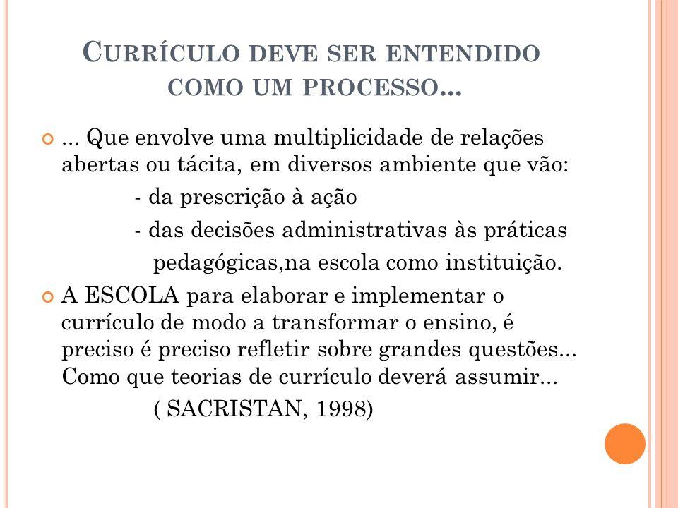 Currículo deve ser entendido como um processo...