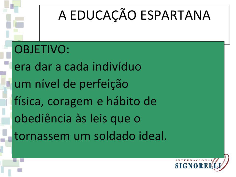 A EDUCAÇÃO ESPARTANA OBJETIVO: era dar a cada indivíduo