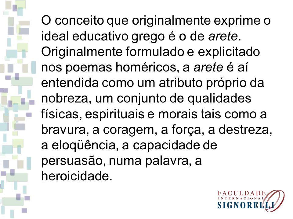 O conceito que originalmente exprime o ideal educativo grego é o de arete.