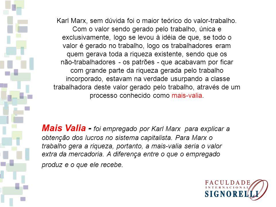 Karl Marx, sem dúvida foi o maior teórico do valor-trabalho.