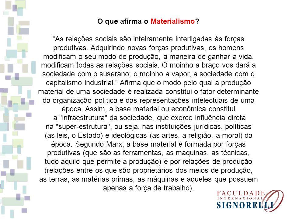 O que afirma o Materialismo
