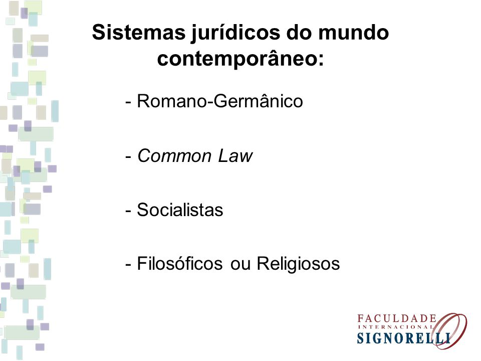 Sistemas jurídicos do mundo contemporâneo: