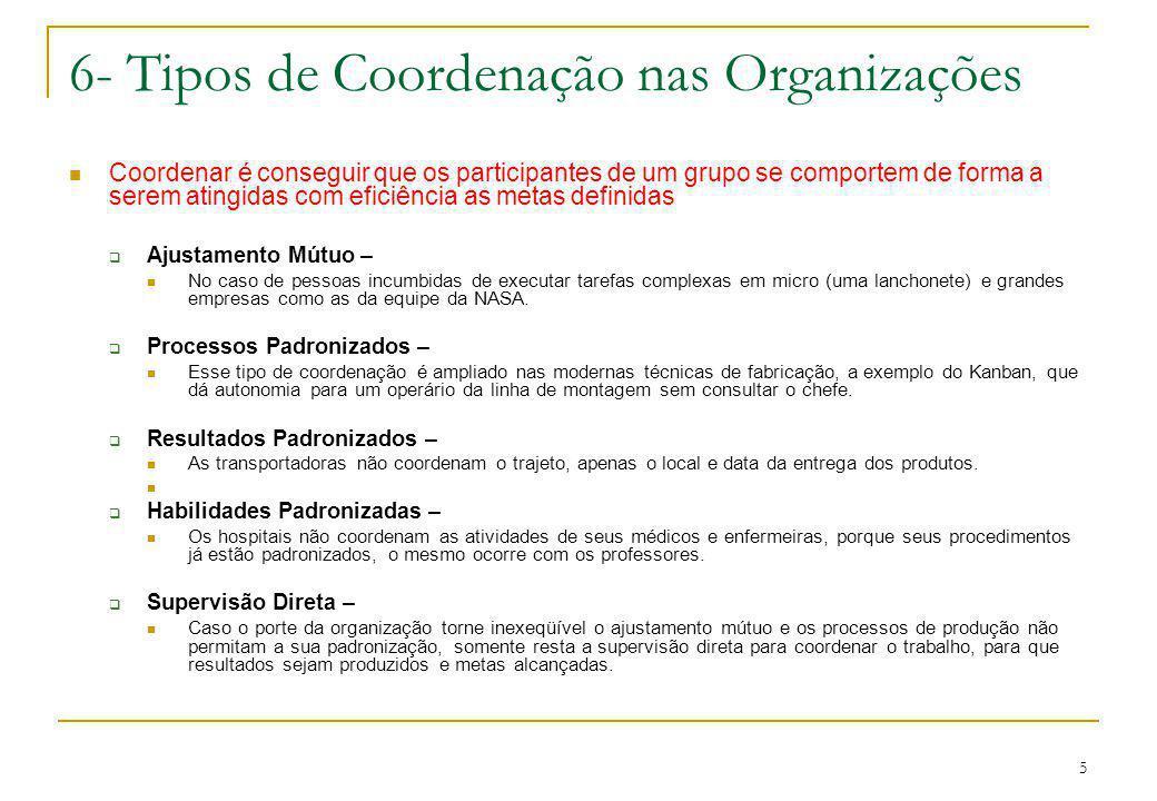 6- Tipos de Coordenação nas Organizações