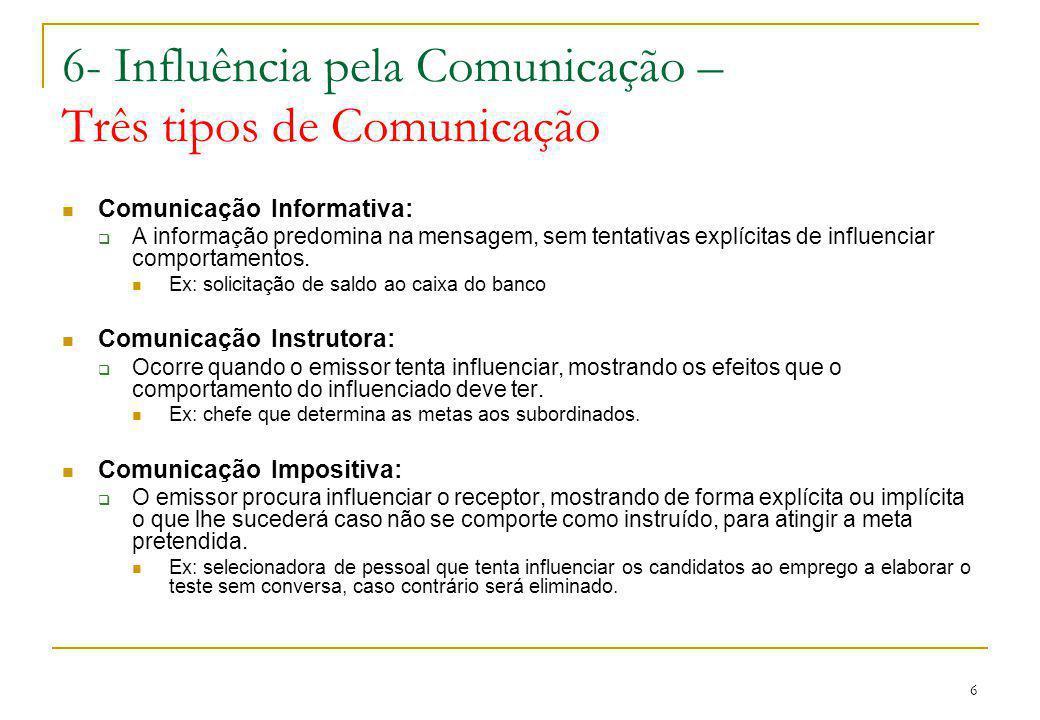 6- Influência pela Comunicação – Três tipos de Comunicação