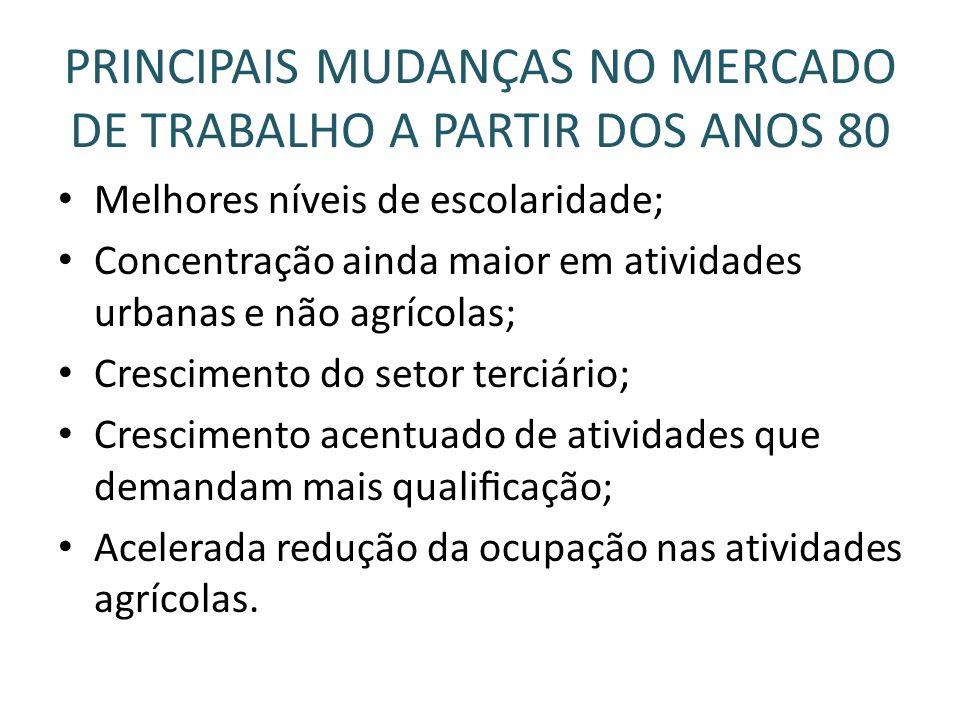 PRINCIPAIS MUDANÇAS NO MERCADO DE TRABALHO A PARTIR DOS ANOS 80