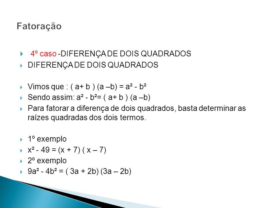 4º caso -DIFERENÇA DE DOIS QUADRADOS