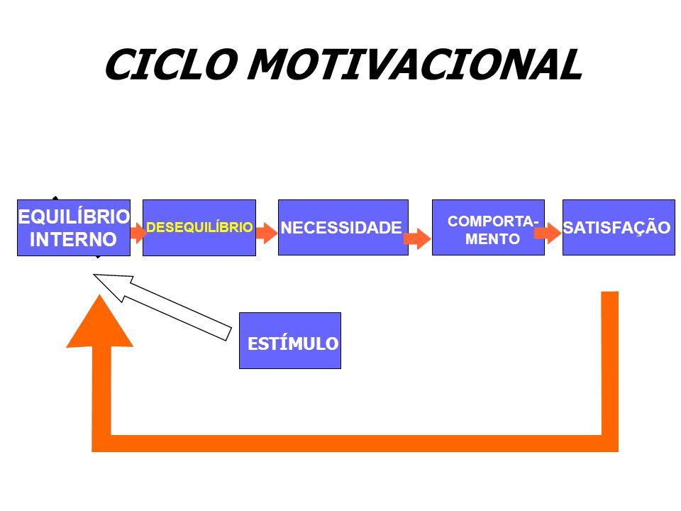 CICLO MOTIVACIONAL EQUILÍBRIO INTERNO NECESSIDADE SATISFAÇÃO ESTÍMULO