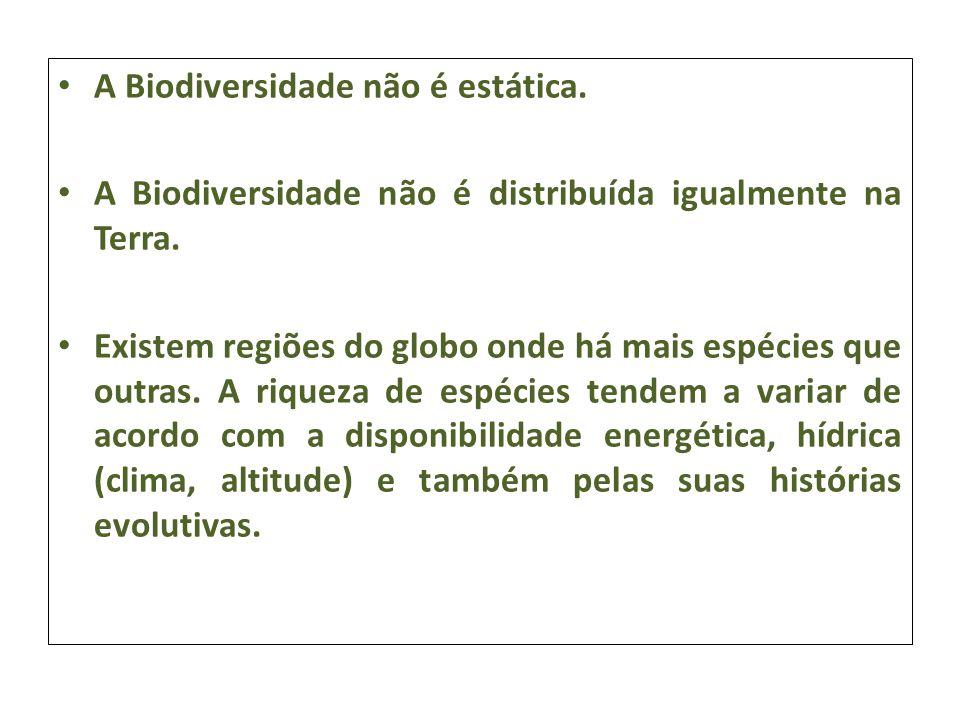 A Biodiversidade não é estática.
