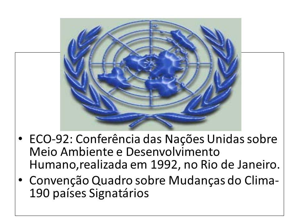 ECO-92: Conferência das Nações Unidas sobre Meio Ambiente e Desenvolvimento Humano,realizada em 1992, no Rio de Janeiro.