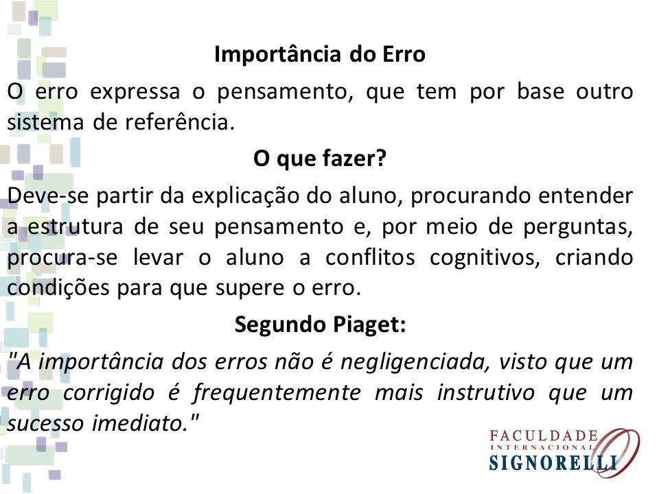 Importância do Erro O erro expressa o pensamento, que tem por base outro sistema de referência.