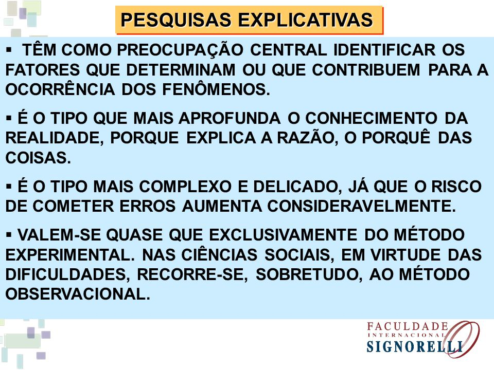 PESQUISAS EXPLICATIVAS