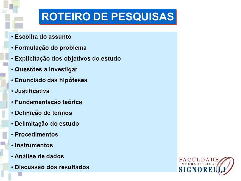 ROTEIRO DE PESQUISAS Escolha do assunto Formulação do problema