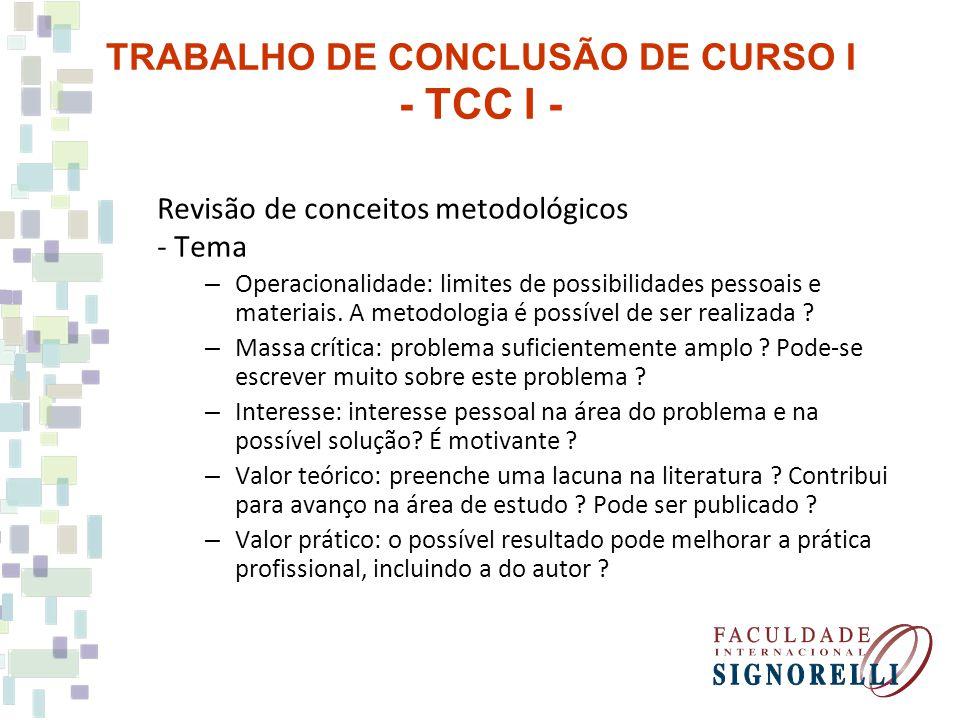 TRABALHO DE CONCLUSÃO DE CURSO I - TCC I -