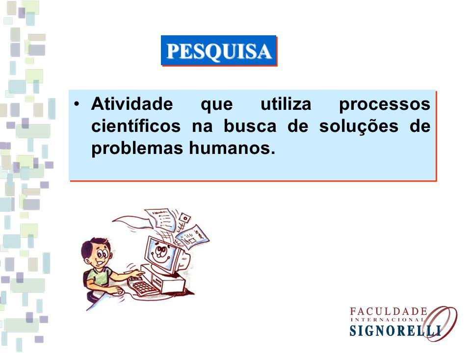 PESQUISA Atividade que utiliza processos científicos na busca de soluções de problemas humanos.