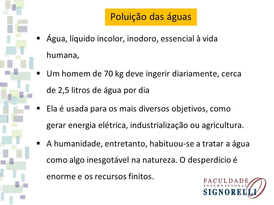 Poluição das águas Água, líquido incolor, inodoro, essencial à vida humana,