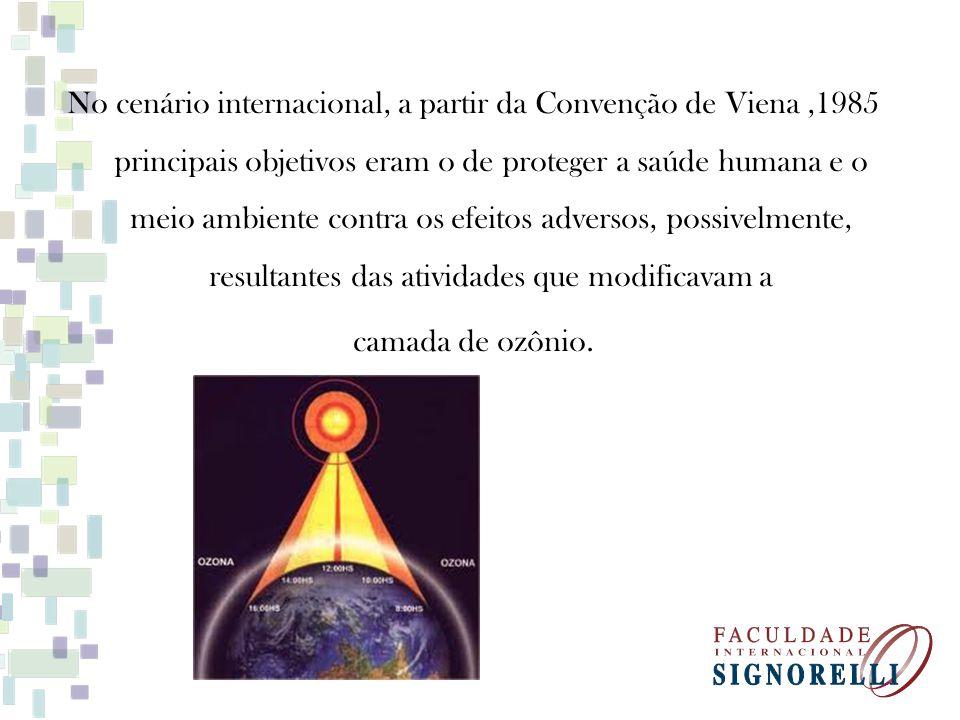 No cenário internacional, a partir da Convenção de Viena ,1985 principais objetivos eram o de proteger a saúde humana e o meio ambiente contra os efeitos adversos, possivelmente, resultantes das atividades que modificavam a camada de ozônio.