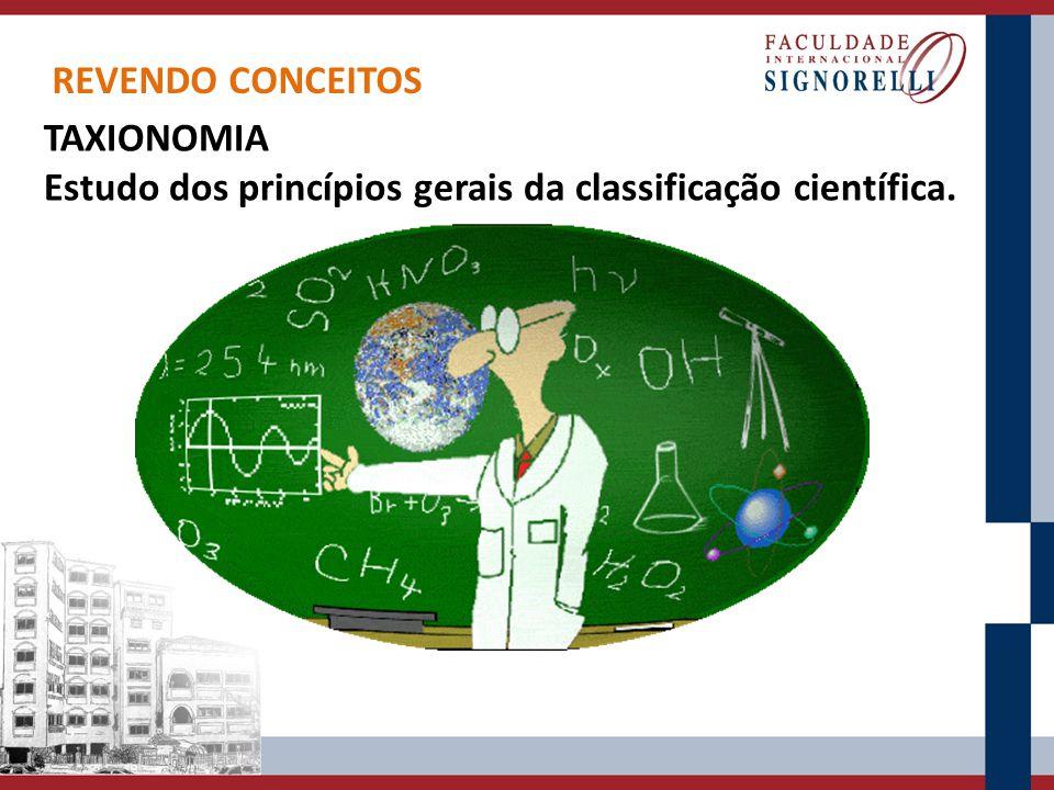 REVENDO CONCEITOS TAXIONOMIA Estudo dos princípios gerais da classificação científica.
