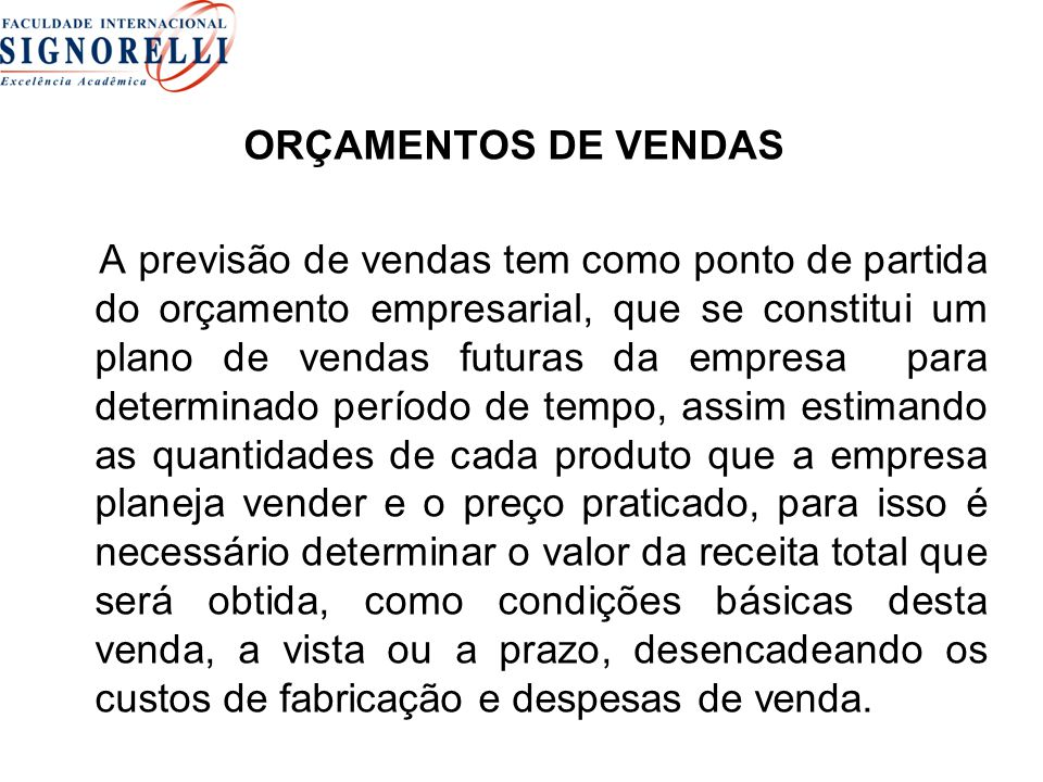 ORÇAMENTOS DE VENDAS
