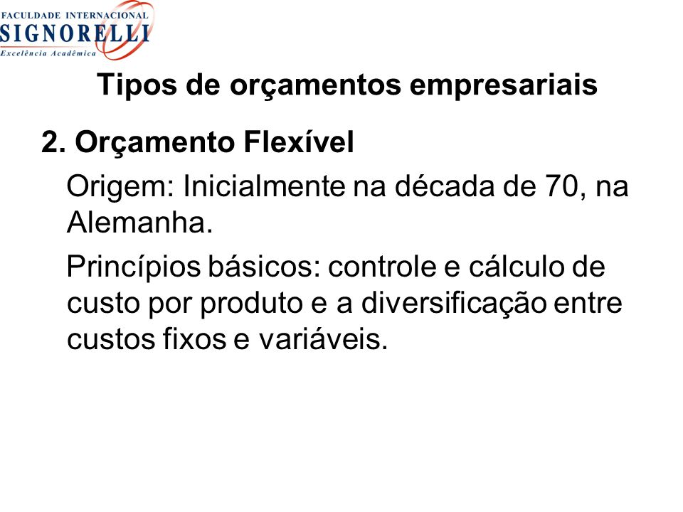 Tipos de orçamentos empresariais
