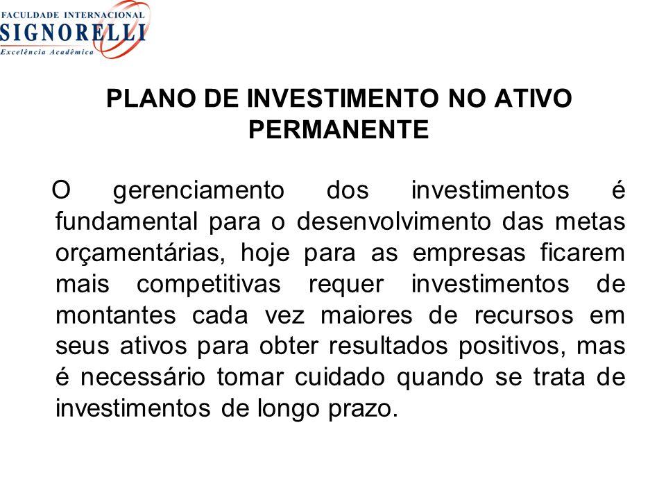 PLANO DE INVESTIMENTO NO ATIVO PERMANENTE