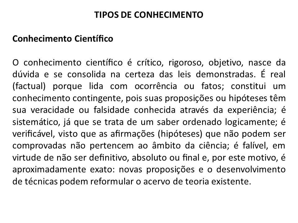 TIPOS DE CONHECIMENTO Conhecimento Científico.