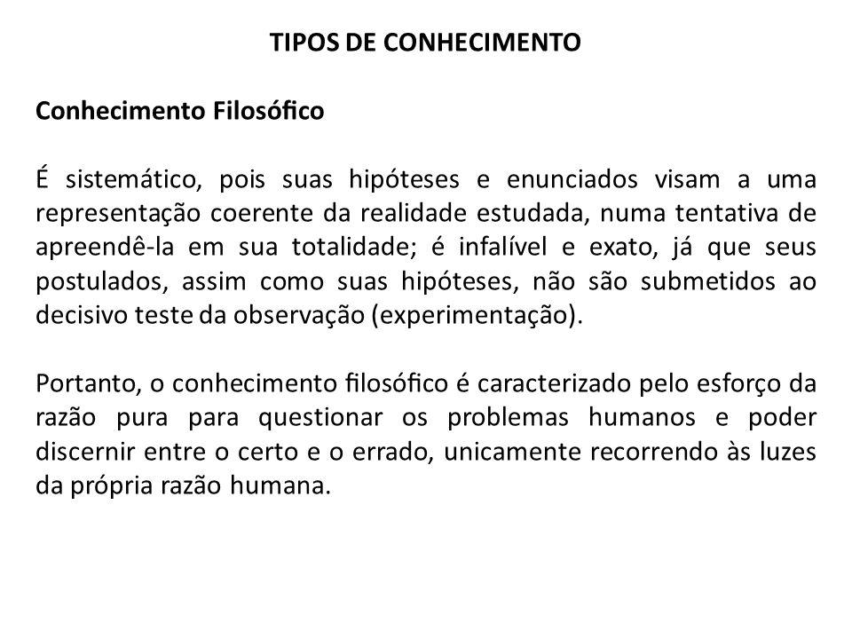TIPOS DE CONHECIMENTO Conhecimento Filosófico.