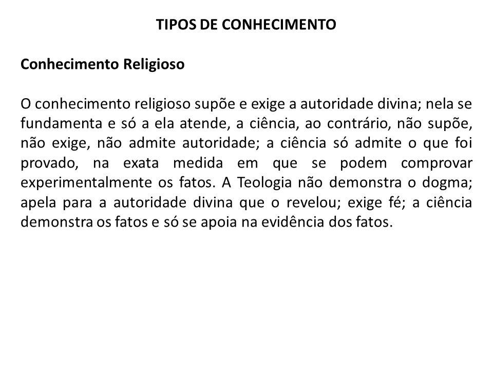 TIPOS DE CONHECIMENTO Conhecimento Religioso.
