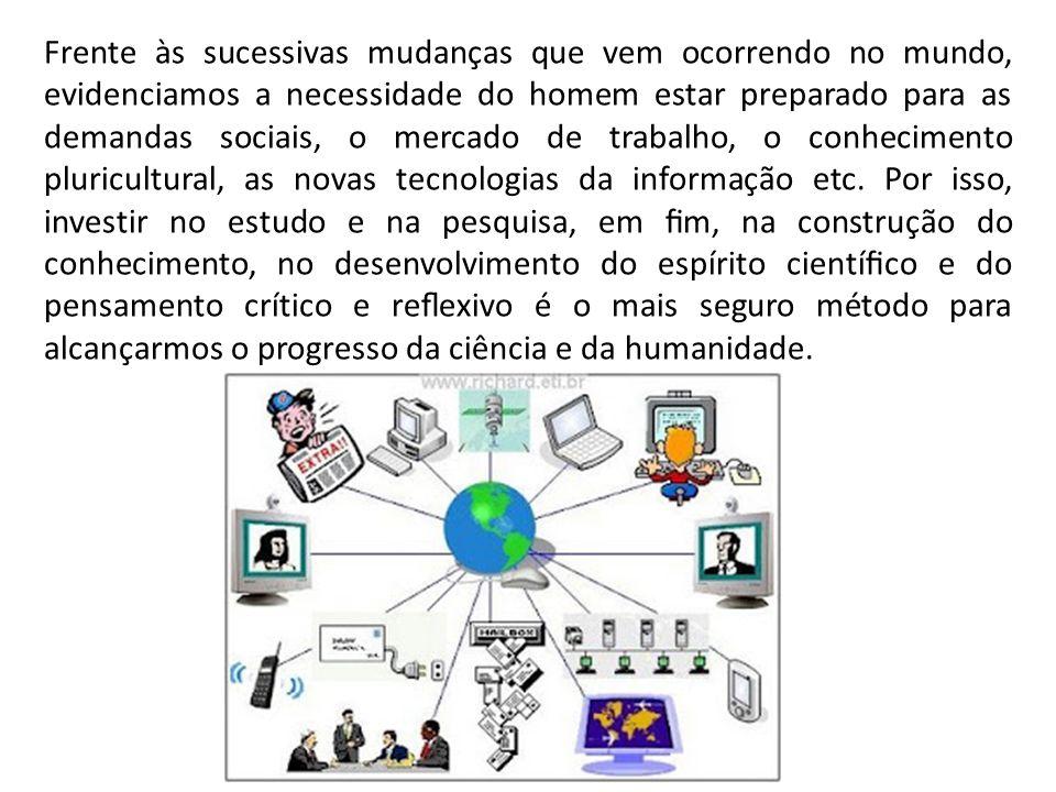 Frente às sucessivas mudanças que vem ocorrendo no mundo, evidenciamos a necessidade do homem estar preparado para as demandas sociais, o mercado de trabalho, o conhecimento pluricultural, as novas tecnologias da informação etc.