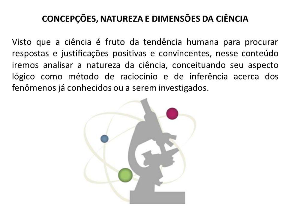 CONCEPÇÕES, NATUREZA E DIMENSÕES DA CIÊNCIA