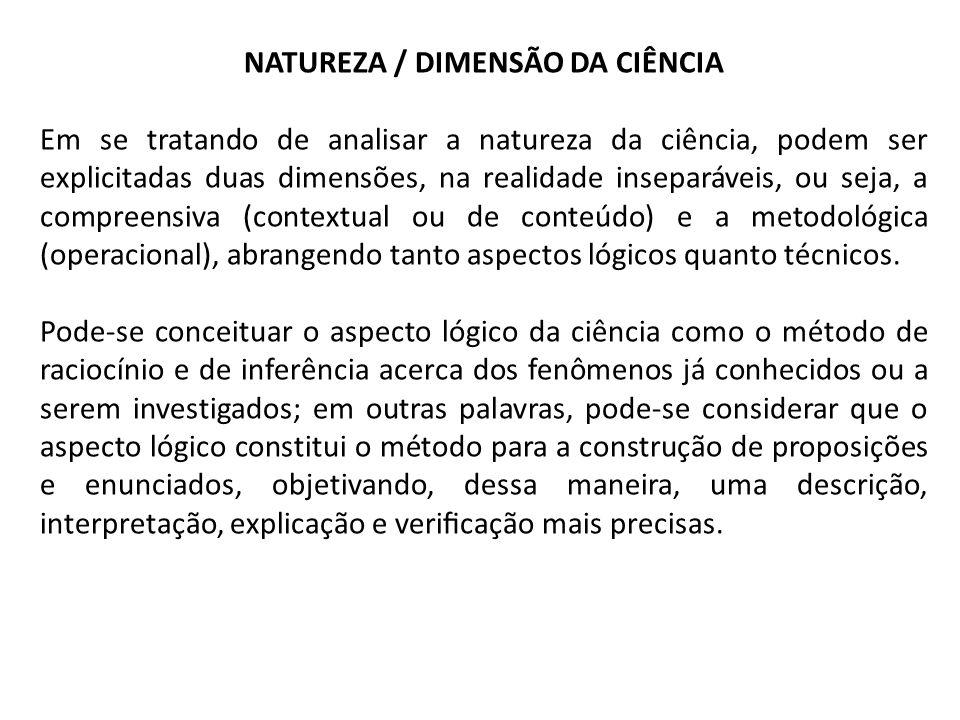 NATUREZA / DIMENSÃO DA CIÊNCIA