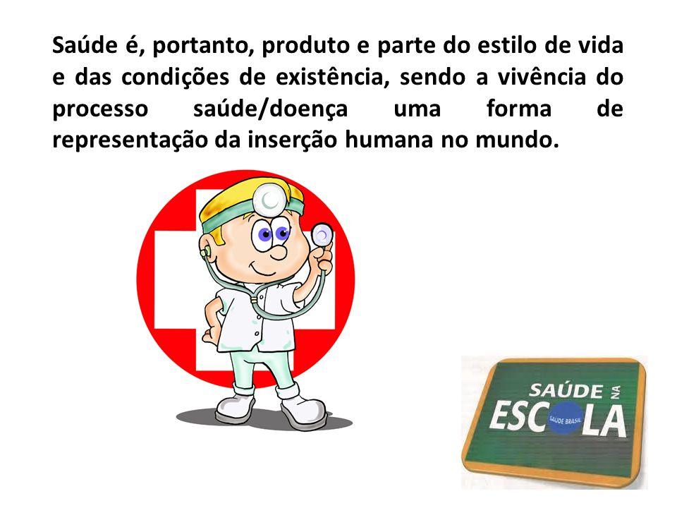 Saúde é, portanto, produto e parte do estilo de vida e das condições de existência, sendo a vivência do processo saúde/doença uma forma de representação da inserção humana no mundo.
