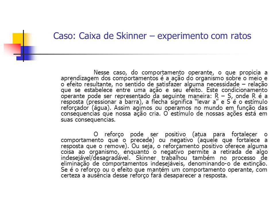 Caso: Caixa de Skinner – experimento com ratos