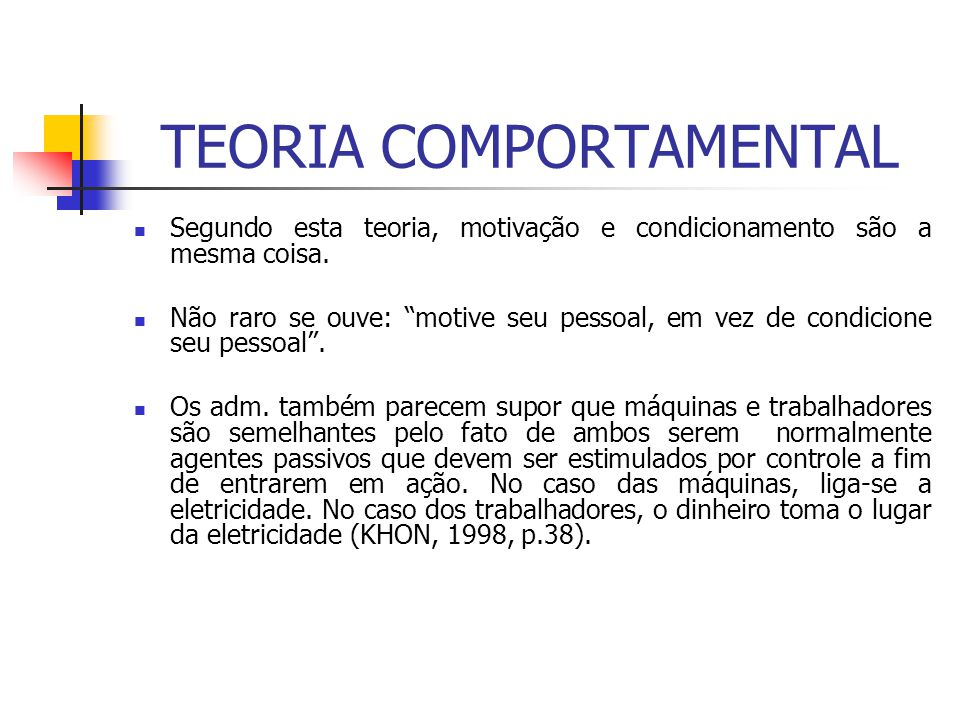 TEORIA COMPORTAMENTAL