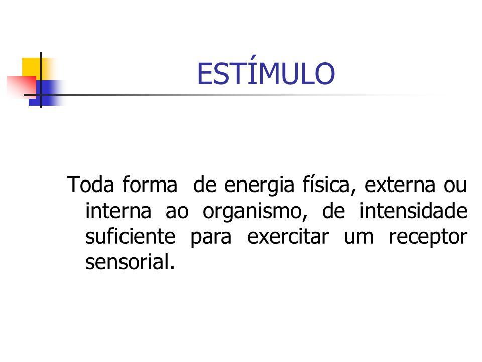 ESTÍMULO Toda forma de energia física, externa ou interna ao organismo, de intensidade suficiente para exercitar um receptor sensorial.