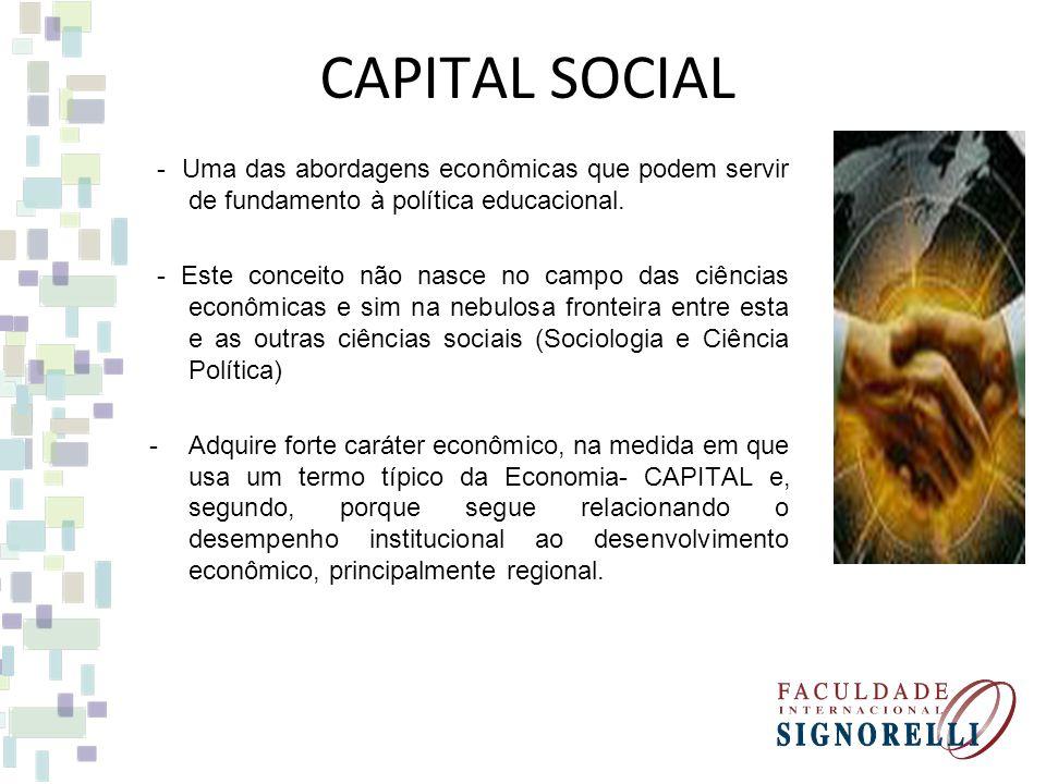 CAPITAL SOCIAL - Uma das abordagens econômicas que podem servir de fundamento à política educacional.