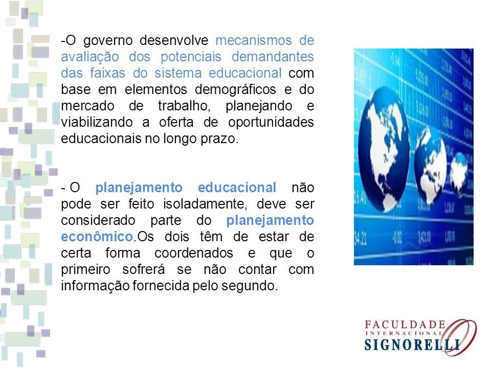 O governo desenvolve mecanismos de avaliação dos potenciais demandantes das faixas do sistema educacional com base em elementos demográficos e do mercado de trabalho, planejando e viabilizando a oferta de oportunidades educacionais no longo prazo.