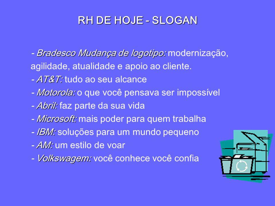 RH DE HOJE - SLOGAN - Bradesco Mudança de logotipo: modernização, agilidade, atualidade e apoio ao cliente.
