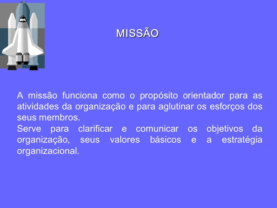 MISSÃO A missão funciona como o propósito orientador para as atividades da organização e para aglutinar os esforços dos seus membros.