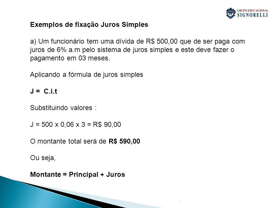 Exemplos de fixação Juros Simples