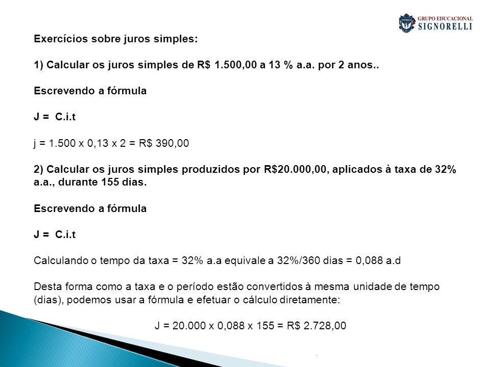 Exercícios sobre juros simples: