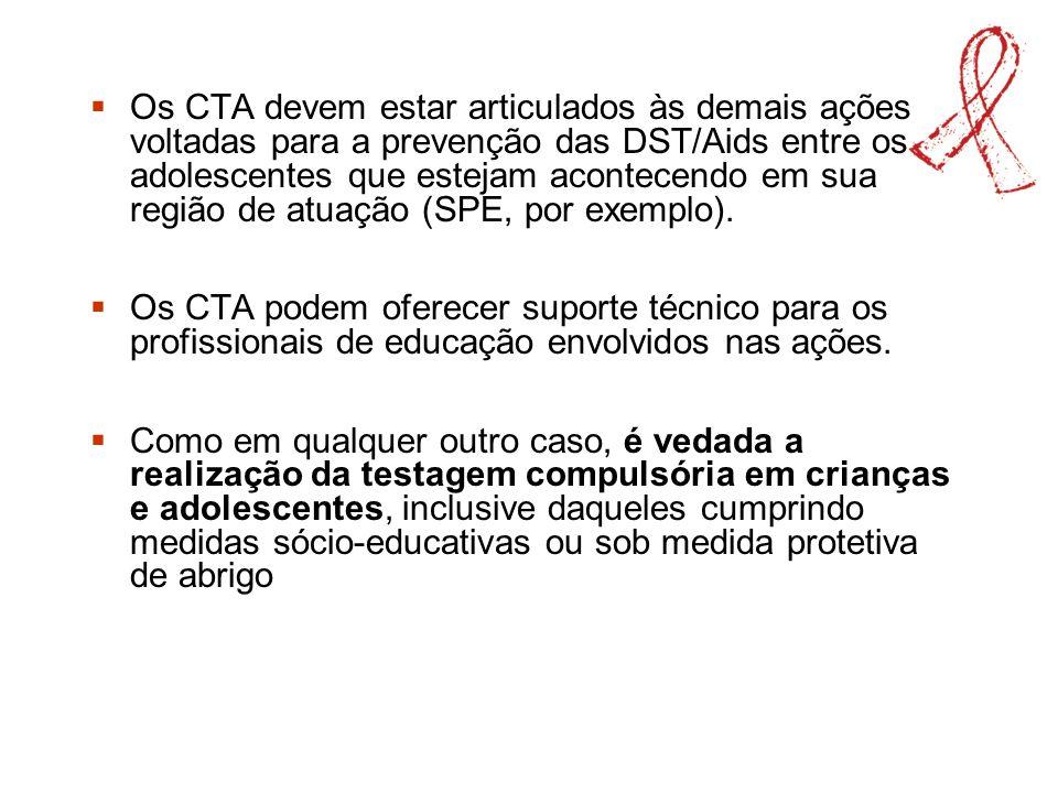 Os CTA devem estar articulados às demais ações voltadas para a prevenção das DST/Aids entre os adolescentes que estejam acontecendo em sua região de atuação (SPE, por exemplo).