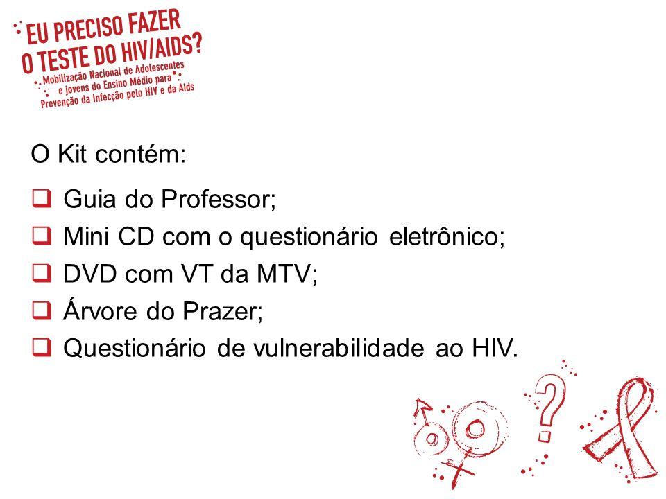 O Kit contém: Guia do Professor; Mini CD com o questionário eletrônico; DVD com VT da MTV; Árvore do Prazer;