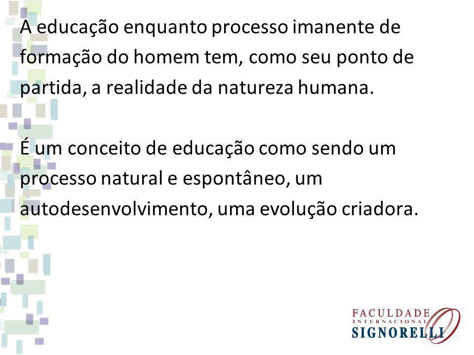 A educação enquanto processo imanente de formação do homem tem, como seu ponto de partida, a realidade da natureza humana.