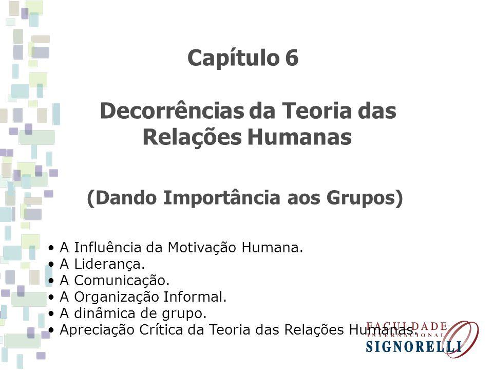 Decorrências da Teoria das Relações Humanas